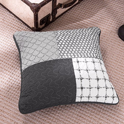 DaDa Bedding Set of Two Classical Shades Grey Real Patchwork Quilted Square (Quilted Shade)