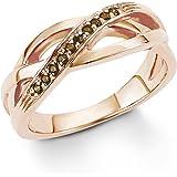 s.Oliver Damen-Ring 925 Sterling Silber rosévergoldet Zirkonia braun
