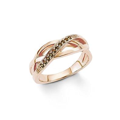 52913a1bcfb7 s.Oliver Damen-Ring 925 Sterling Silber rosévergoldet Zirkonia braun  Amazon .de  Schmuck