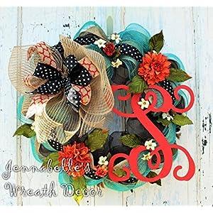 Fall Wreath - Summer Door Wreath - Monogrammed Wreath - Burlap Wreath - Mesh Wreath - Fall Door Wreath 68