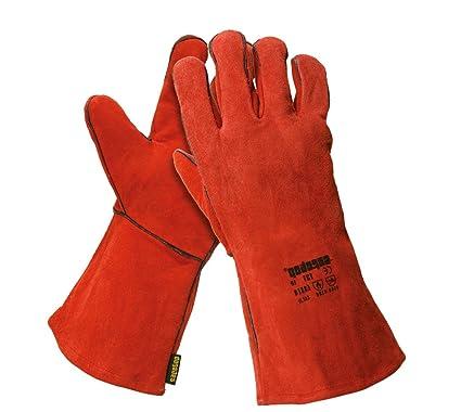 Safetop G131-Mi - Essen. guante mano izda. soldador rojo forrado t.