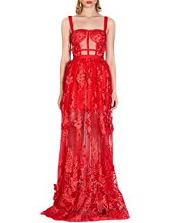 7ba88287ab77 Sunlen Women s Red Lace Embroidery Bandage Dress Floral Mesh Gown for Party