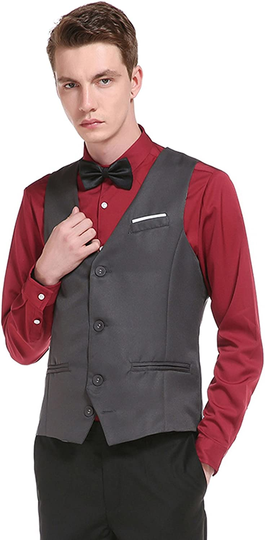 WHATLEES Mens Basic Slim fit Office Party Wedding Vest Waistcoat