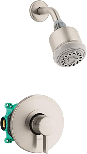 hansgrohe Clubmaster Complete Shower System Shower Set Modern 3-Spray Full, Pulsating Massage, and Intense Turbo in Brushed Nickel, Rough and Shower Valve Included 2.5 GPM, 04907820