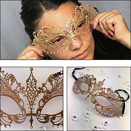 Brown Masquerade Masks (Adorox Laser Cut Ornate Venetian Pretty Masquerade Mask Rhinestones Mardi Gras Costume (Gold))