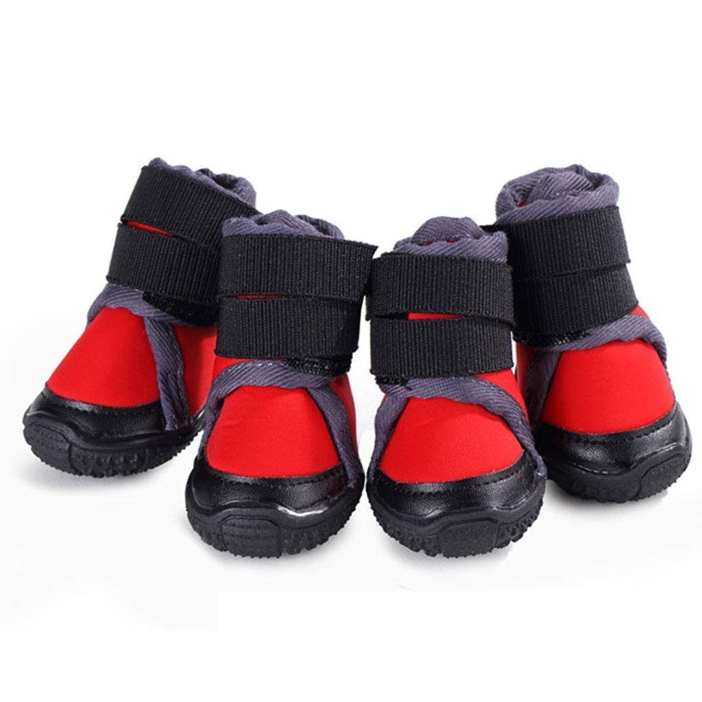 Red Outdoor Big Dog shoes Straps Pet shoes Set of 4 Than Xiong Ke Fund Hair Slip Anti-Sewage Foot Cover (color   Red)