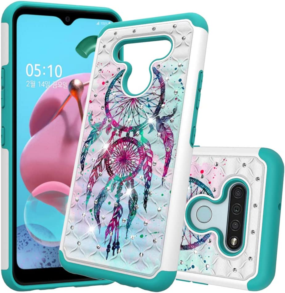 Berry Accessory LG K51 Case,LG Q51 Luxury Glitter Sparkle Bling Case,Studded Rhinestone Crystal Hybrid Dual Layer Armor Protective Case for LG K51 / LG Q51 Blue Dreamcatcher