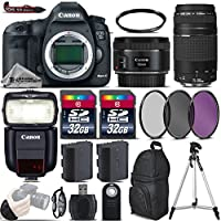 Canon EOS 5D Mark III DSLR Camera + 50mm 1.8 STM Lens + Canon 75-300mm Lens + Canon Speedlite 430EX III RT + 64GB Storage + Backup Battery + UV-CPL-FLD Filters + UV Filter - International Version