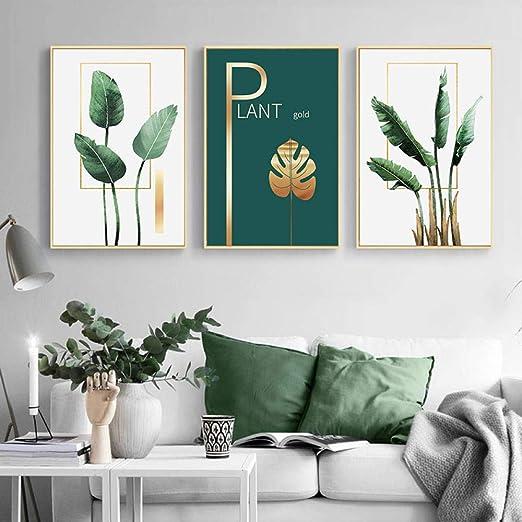 Tanyang Plante Verte Feuille D Or Mur Art Toile Peinture