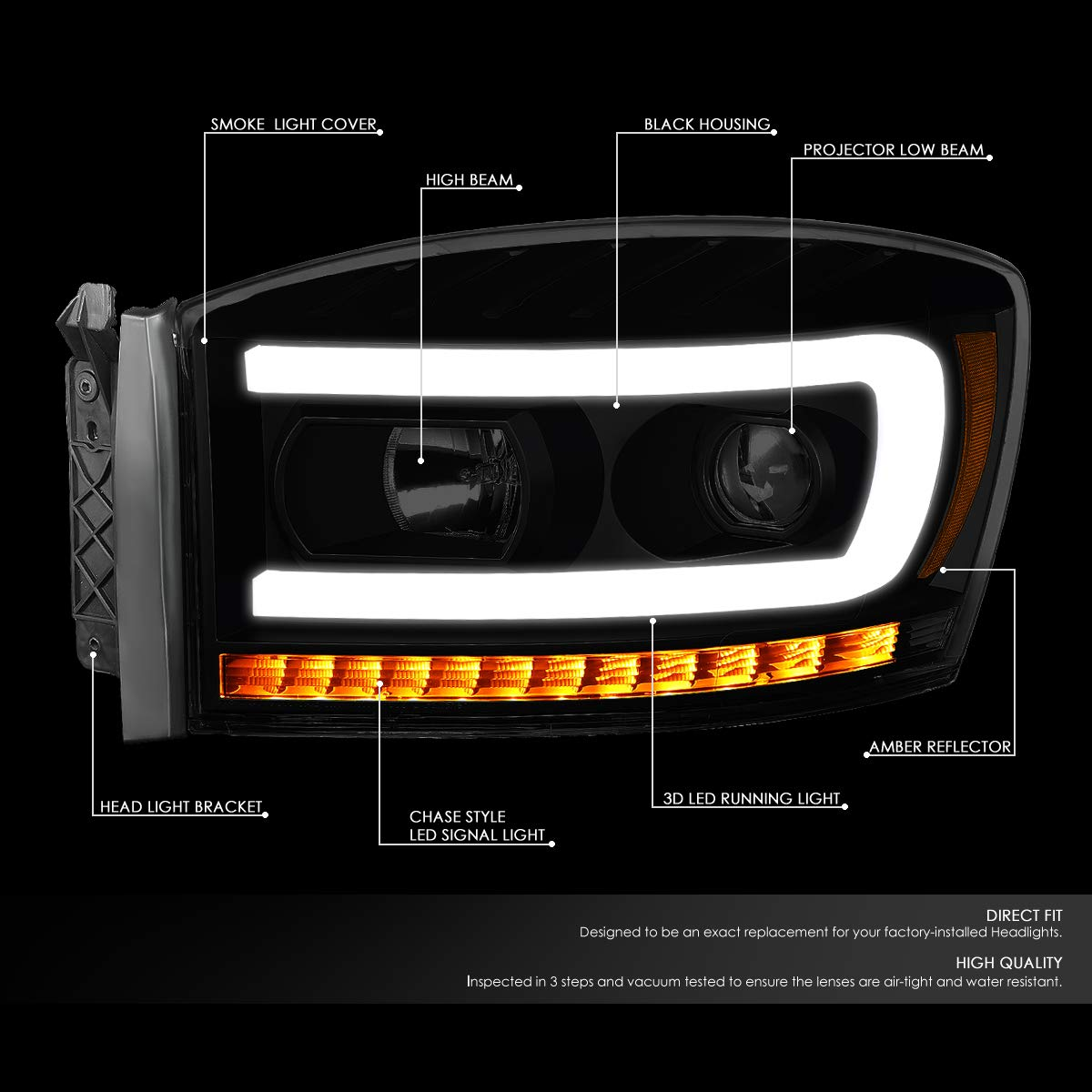 DNA MOTORING HL-HPL-RM06-G-BK-SM-AM Pair LED DRL+Sequential Chasing Turn Signal Projector Headlight