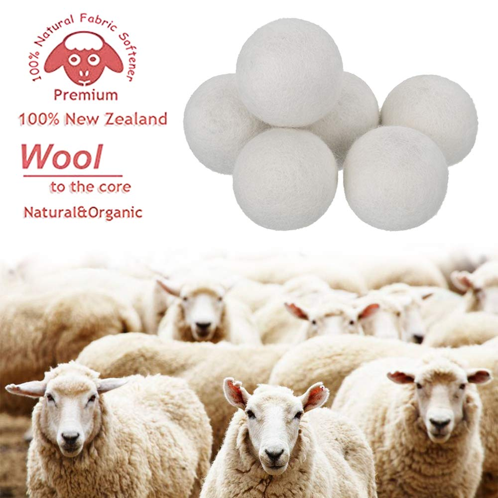 [6 pack] Wool Dryer Balls - 100% Organic New Zealand, DOROIM Premium Natural Fabric Softener Reduce Wrinkles & Static Cling, Shorten Drying Time, Non-Toxic, Reusable, Unscented, Chemical-Free (white)
