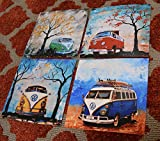 1960's to 1970's Volkswagen Bus, artist signed PRINTS, Set of 4 , Surfboards, VW Bus, Camper Bus, fathers day, gift, christmas, present, men, man, print