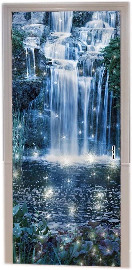 A.Monamour Magic Night Waterfall Fairy Garden Fantasy Scene Abstract Landscape Print Eco-Friendly Vinyl Room Door Decals Wallpaper Wall Murals Removable Door Stickers Posters DIY Art Decors for Home