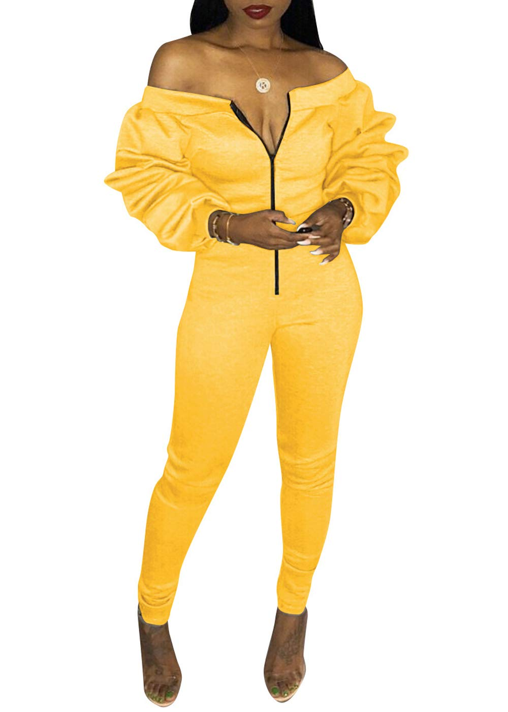 10f9a867f53 Women s Off Shoulder Ruffle Long Sleeve Front Zip up Bodysuit Jumpsuit Long  Pants Rompers (Yellow