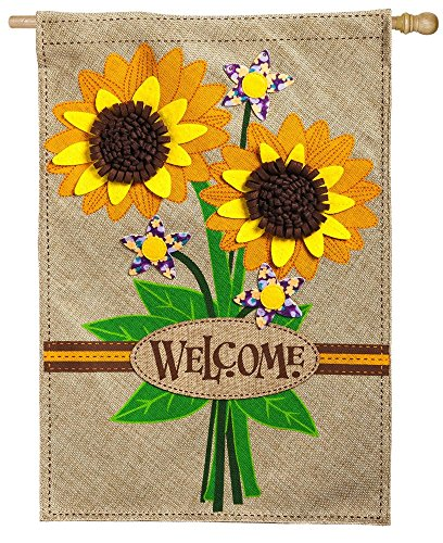 Evergreen Sunflower Bouquet Burlap House Flag, 28 x 44 inche
