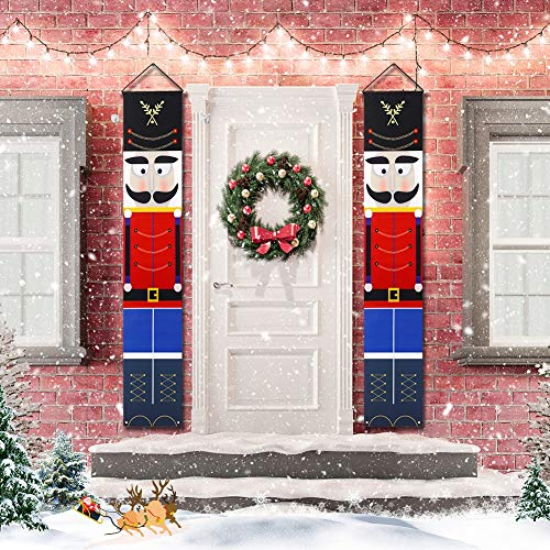 WISREMT Nutcracker Christmas Decorations - Outdoor Xmas Decor - Life Size Soldier Model Nutcracker Banners for Front Door Porch Garden Indoor Exterior Kids Party Yard Gate 32x180cm (A-I Pair)