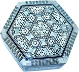 Decorative box - wooden inlaid with Mother of Pearls decorations - Hexagonal - by Holy Land Market (6.8 Wide x 2.4 Inches high)