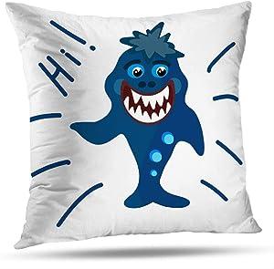 KJONG Cute-Shark-Fin Square Decorative Pillow Case 18 x 18 Inch Pillow Cover for Bedroom Living Room Shark Cartoon Greeting Decor Sea Animal Art Artwork 2 Sides Print