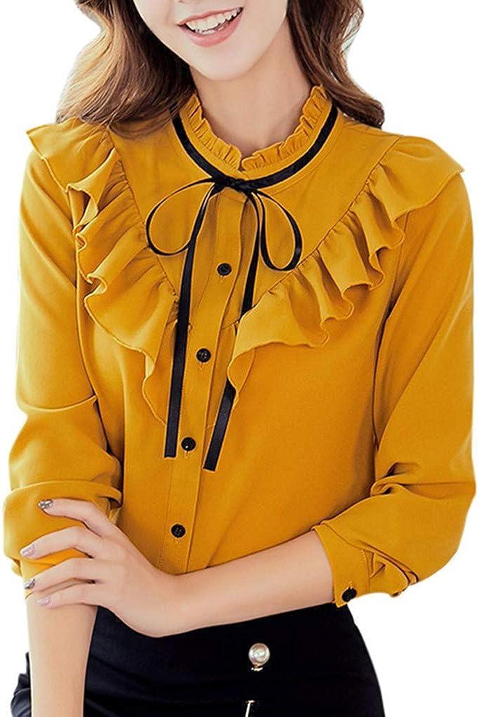 NPRADLA - Camiseta de Manga Larga para Mujer, Elegante, Camisa de riñonera con Capucha, Color Block Scont Invierno Otoño Amarillo XXL: Amazon.es: Ropa y accesorios