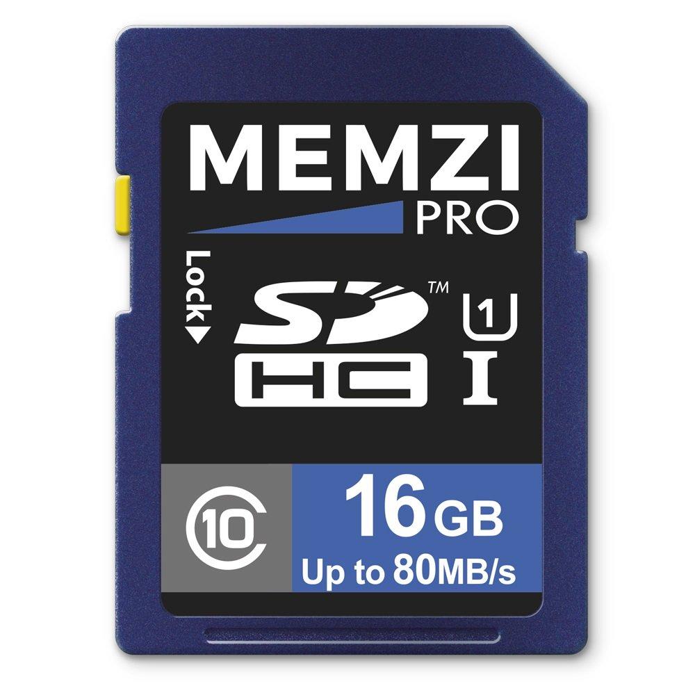 Memzi Pro 16 GB classe 10 80 Mb/s scheda di memoria per Nikon D3300, D3200, D3100, D810, D810 A, D800, D800E, D600, D610, D600, D5000, D3000, D300s, D90, D80, D60, D40 x, D40 SLR fotocamere digitali D810A D40x