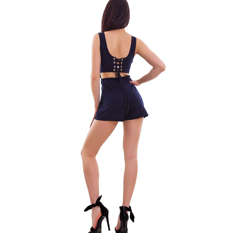 Overall donna tutina shorts aderente schiena nuda casual jumpsuit nuova CJ-2583