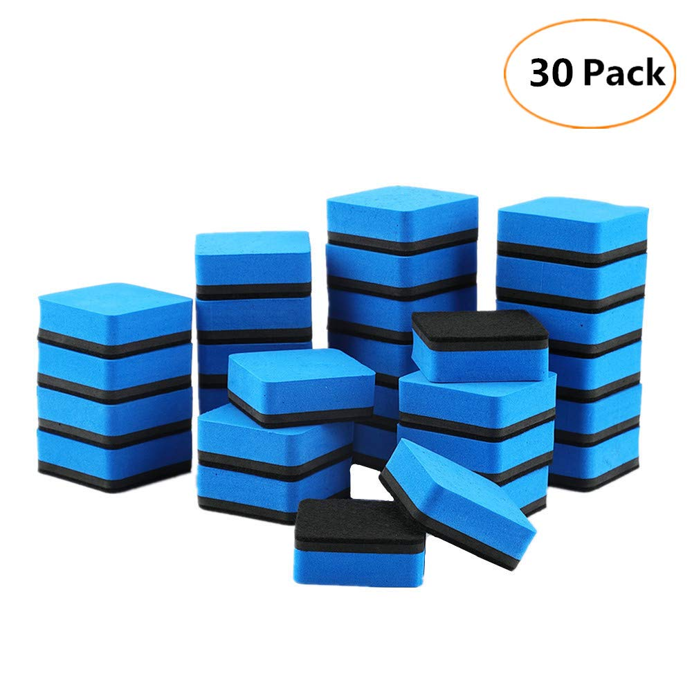 Yizeda 30 Pack Magnetic Erasers Whiteboard Chalkboard Dry Erasers for Office Classroom(1.97 X 1.97 Inch,Blue)