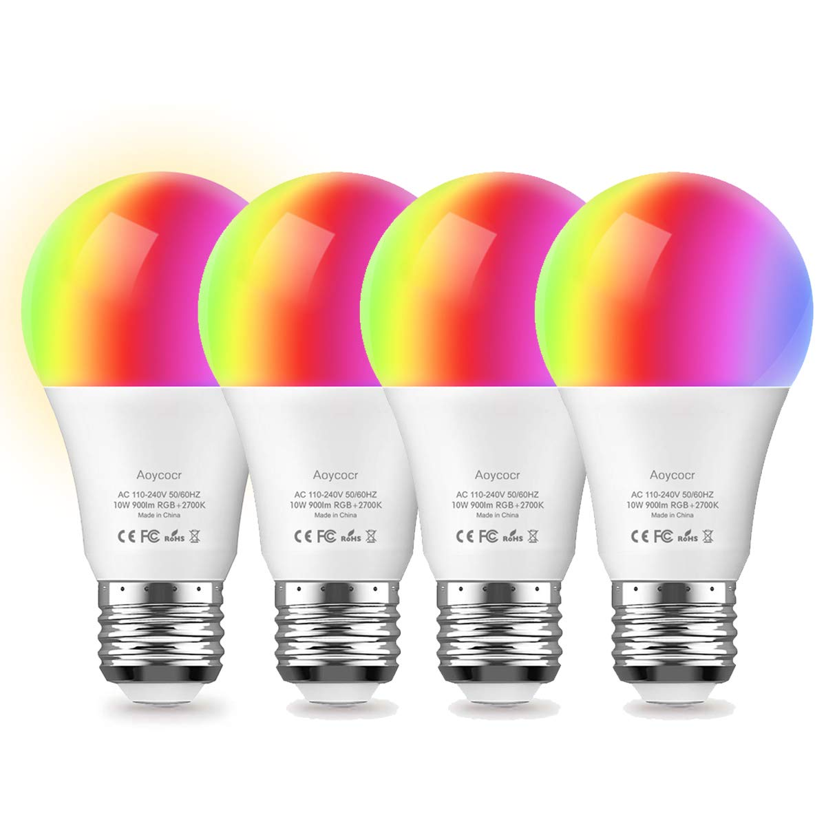 Smart LED Light Bulb, Aoycocr 10W A21 E26 Warm White(2700K) RGB Multicolor, 900 Lumens, 85W Equivalent, Compatible with Amazon Alexa and Google Assistant, No Hub Required (4 Pack)