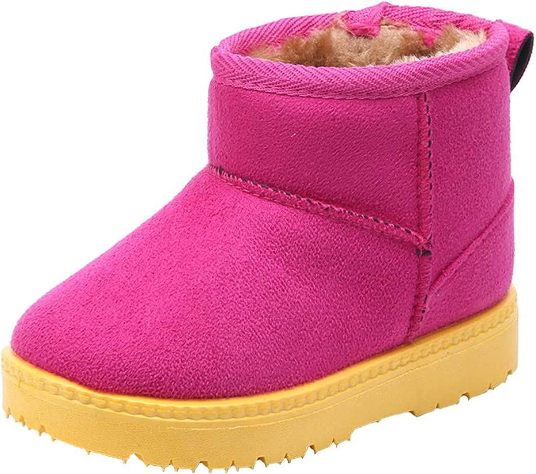 WUIWUIYU Toddlers Little Big Boys Girls Outdoor Warm Fur Lined Winter Snow Boots Ankle Bootie