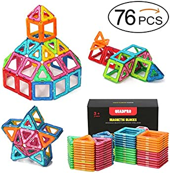 Quadpro 76-Pc Magnetic Blocks Building Magnet Tiles Toys Kit