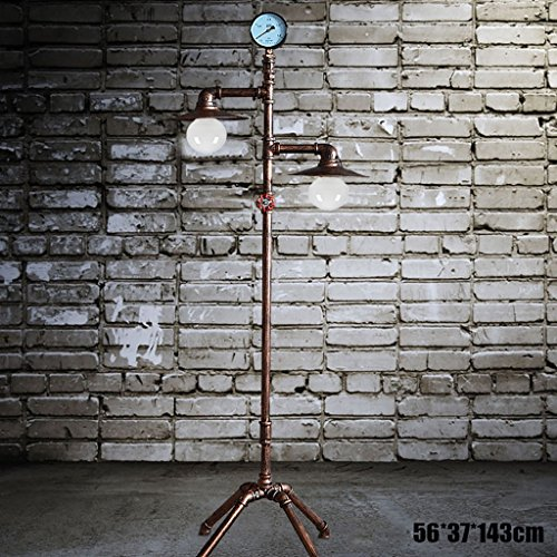 Wrought Iron Direct Wire - YXWldd Floor Lamps Floor lamp European retro wrought iron floor lamp living room study vertical pipe lamp(Size: 56 37 143CM)
