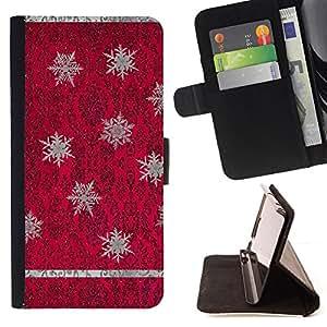 PURPLE VINTAGE WALLPAPER SNOWFLAKE RED/ Personalizada del estilo del dise???¡Ào de la PU Caso de encargo del cuero del tir????n del soporte d - Cao - For Samsung Galaxy S4 Mini i9190