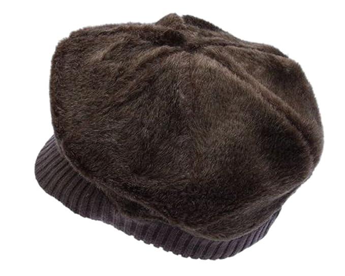 20c7f35f0e8 Amazon.com  Furry Newsboy Cap Hat Spitfire Cabbie Angora Furgora Knit  Unisex (Brown)  Clothing