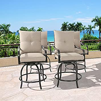 Ulax furniture Outdoor 4-Piece Counter Height Swivel Bar Stools High Patio Dining Chair Set