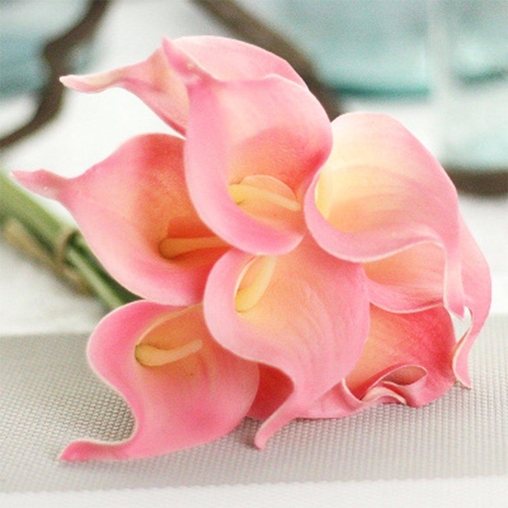 hbloom人工花 – 12 pcsカラーリリー柄フェイク花のホームパーティー装飾 ピンク B07FN9PMSK ピンク