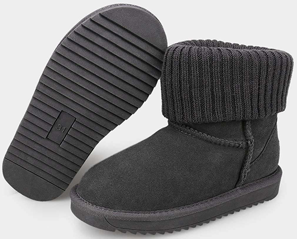 VECJUNIA Girls Faux Suede Pull On Thicken Fleece Lined Ankle Boots Little Kid