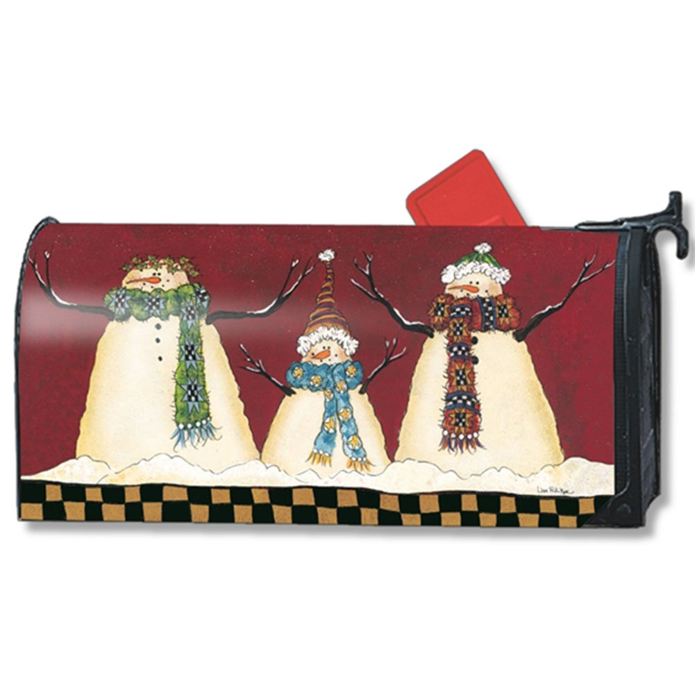 Primitive Snowman Winter Large Magnetic Mailbox Cover Oversized MailWraps