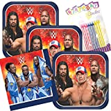 Lobyn Value Pack WWE Party Plates and Napkins Serves 16 With Birthday Candles