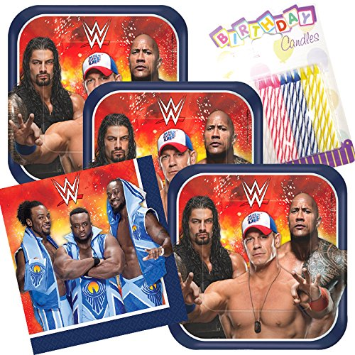 Lobyn Value Pack WWE Party Plates and Napkins Serves 16 With Birthday Candles by Lobyn Value Pack