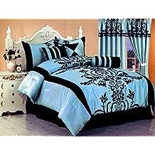 "7 Pc Modern Black Blue Flock Satin Comforter (90\"" x 92\"") SET / BED in a BAG - Queen Size Bedding"