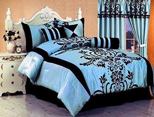 Inexpensive Mattress Toppers 7 Pc Modern Black Blue Flock Satin Comforter (90″ x 92 ...