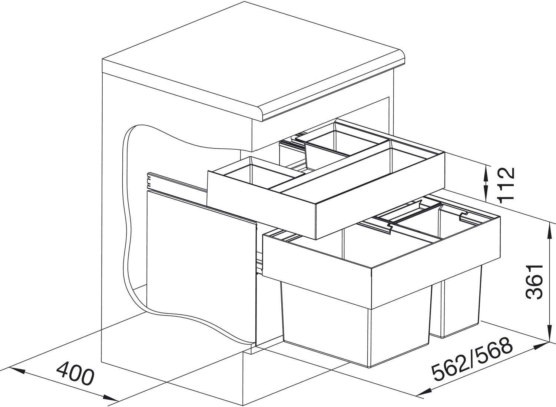 Blanco Clasificador de residuos  Orga XL 60//3