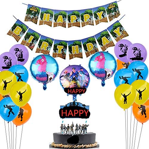 Gaming Party Supplies Set,16 Latex Party Balloons /3 Foil Balloons/1 birthday cake flag/2 banners pull flag,Video Game Cake Topper for Gaming Birthday Party Decorations
