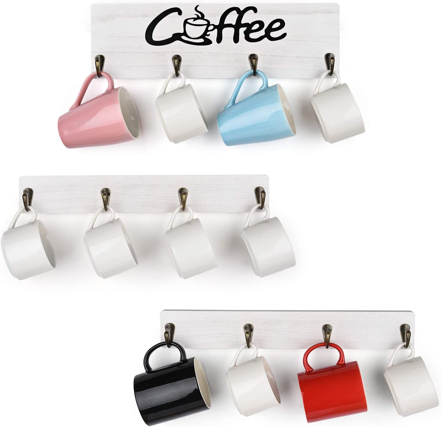 Olakee Coffee Mug Holder, Rustic Mug Rack Wall Mounted with Coffee Sign- 12 Coffee Cup Hangers for Kitchen Organizer, Coffee Nook Decor (White)