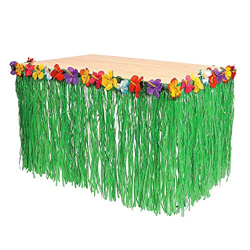 Tytroy 1 Green Table Skirt Hawaiian Luau Hibiscus 9ft Party Decoration ()