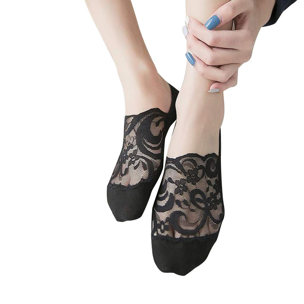 LIULIULIU➤Women Lace Antiskid Invisible Low Cut Socks Toe Ankle Sock (Black)