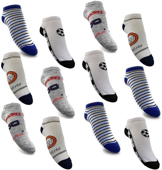 Laake - 12 pares de calcetines para niño, 95% algodón, multicolor ...