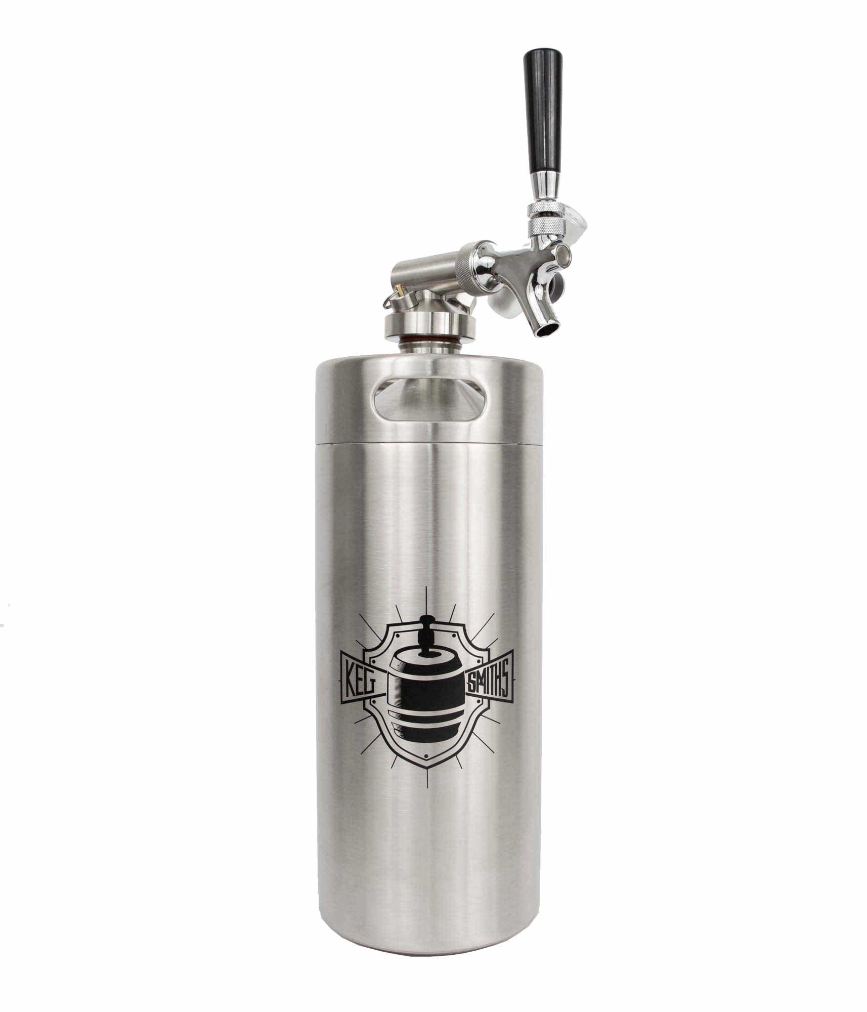 Keg Smiths 128 oz Portable Draft Keg System | CO2 Regulated | Stainless Steel Keg | 8 Pint | Mini Keg Draft System