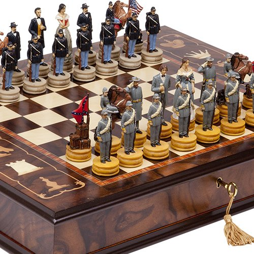 (Hand Painted American Civil War Chessmen & Napoli Chess Board/Cabinet From Italy)