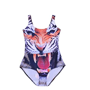 2662ed9544813d Amazon.com: Kerio Sexy Womens European Skinny Tiger Swimsuit One Piece  Swimwear Digital Print Backless Wetsuit 1031: Clothing