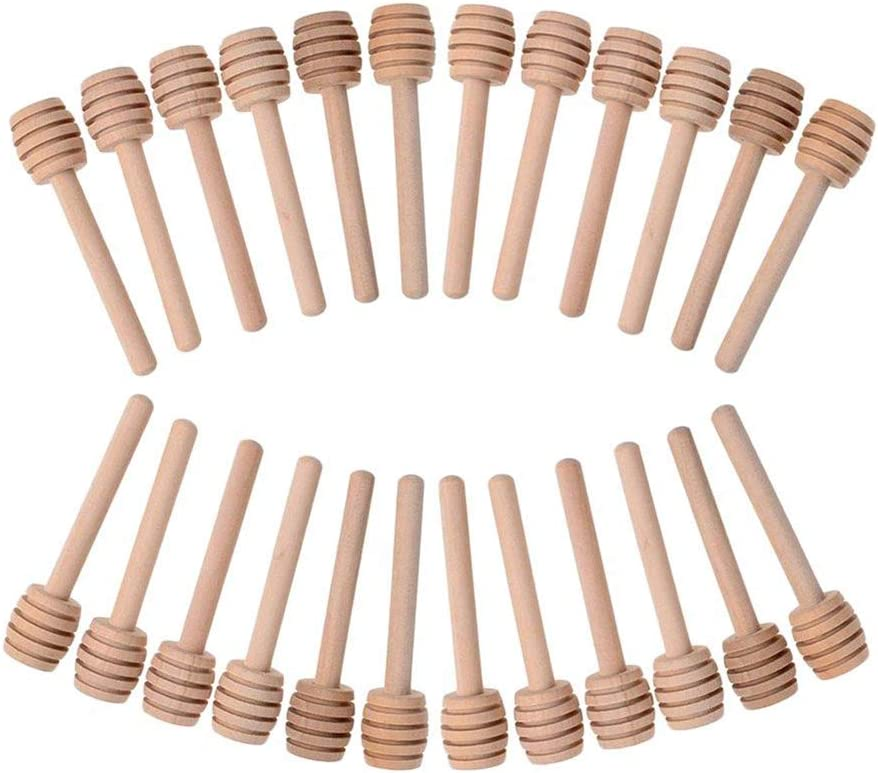 NKLC 24pcs 3 Inch Mini Wooden Honey Dipper Sticks, Honeycomb Stick, Honey Stirrer Honey Wand for Honey Jar Dispense Drizzle Honey and Wedding